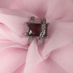 Prince Cut Purple Sapphire Gold Tone Ring